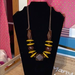 Wooden Bead Necklace browns and mustard color